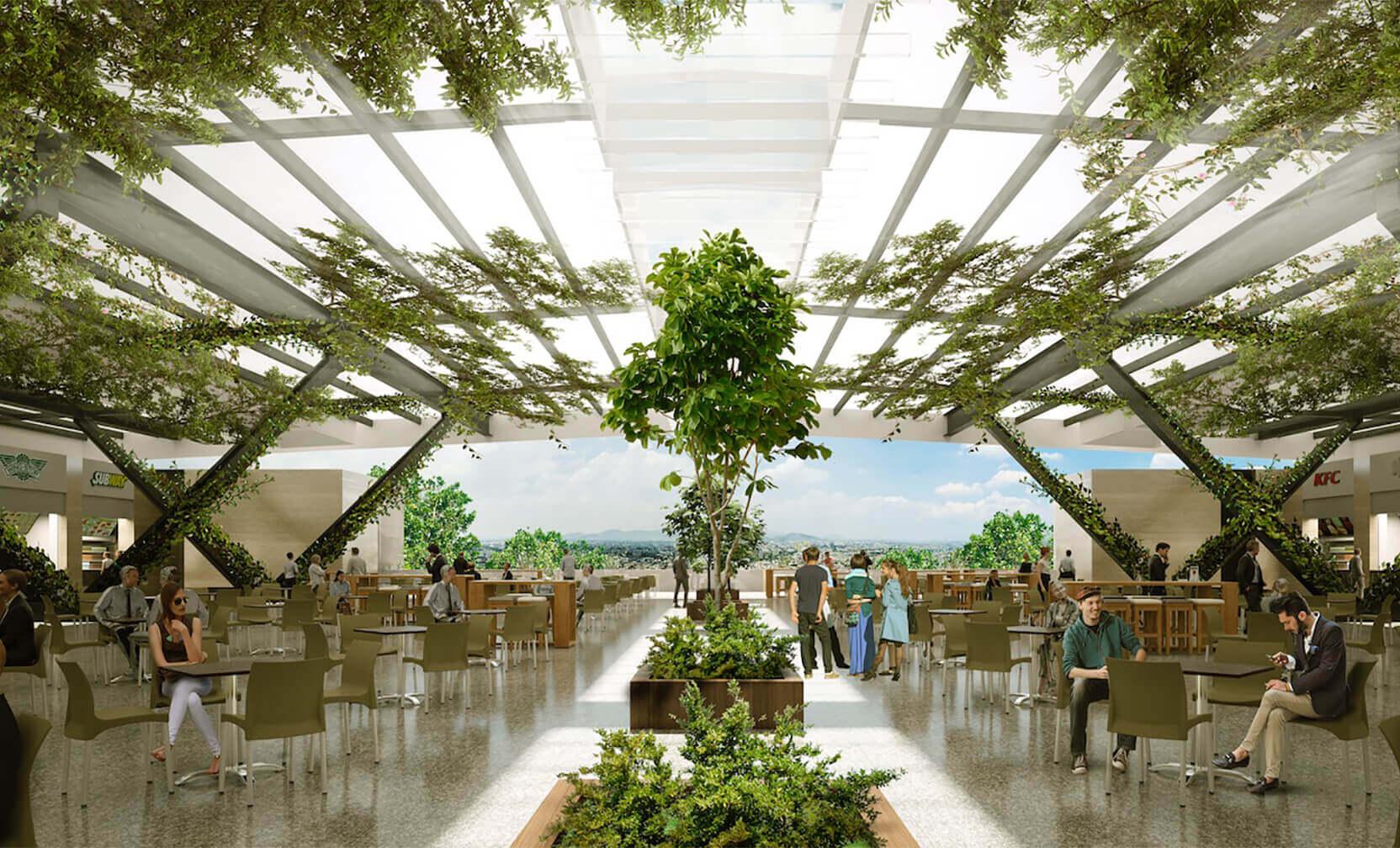 Interiores iluminados nutren la oferta del centro comercial.